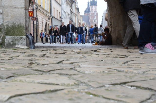 From the old gate, which was the first opening to the city. Krakow is enclosed by an old wall, along the Vistula River.