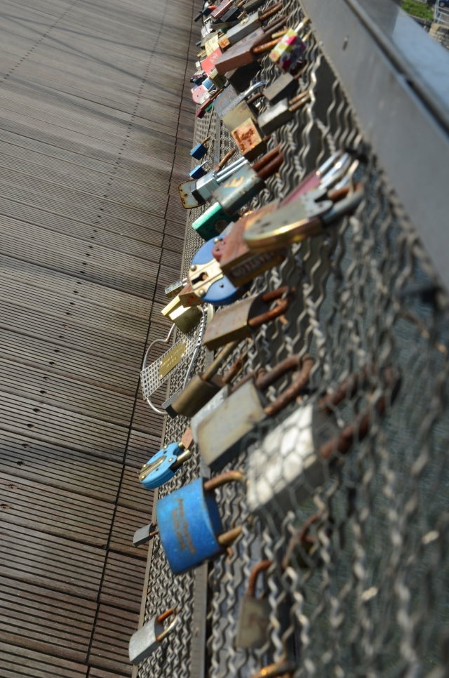 Love locks on the main bridge.