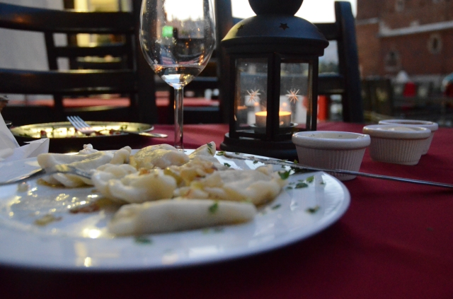 ...and polish dumplings  filled with mushrooms. And a spectacular view